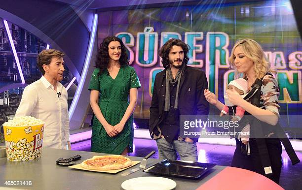 TV presenter Pablo Motos actress Blanca Romero actor Yon Gonzalez and Anna Simon attend 'El Hormiguero' TV show on March 2 2015 in Madrid Spain