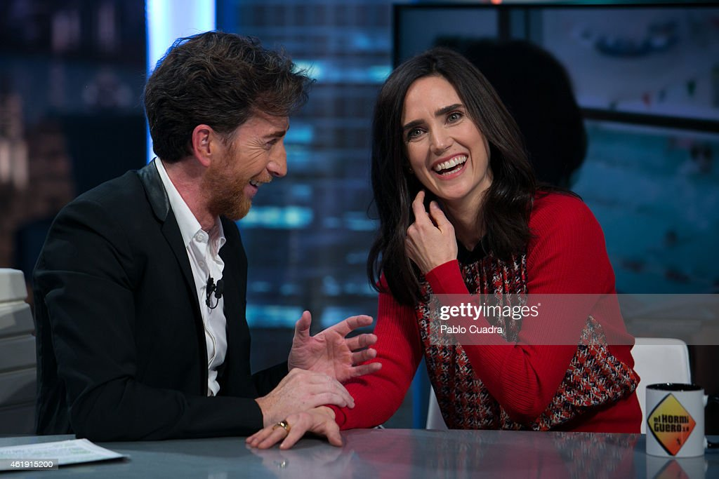 TV presenter Pablo Motos and actress Jennifer Connelly attend 'El Hormiguero' TV show at Vertice Studio on January 21 2015 in Madrid Spain