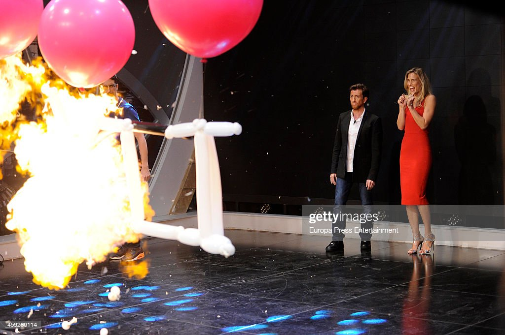 TV presenter Pablo Motos and Model Bar Refaeli attend 'El Hormiguero' TV Show on November 19 2014 in Madrid Spain