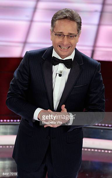 Presenter Paolo Bonolis attends the second evening of the 59th San Remo Song Festival at Ariston Theatre on February 18 2009 in San Remo Italy