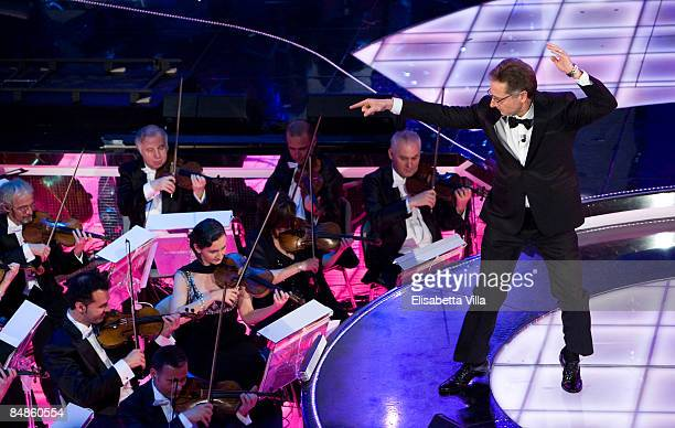 Presenter Paolo Bonolis is shown onstage on opening night of the 59th San Remo Song Festival at the Ariston Theatre on February 17 2009 in San Remo...