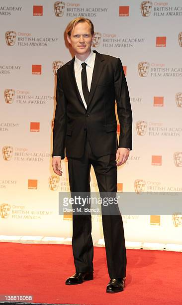 Presenter Paul Bettany poses in the press room at the Orange British Academy Film Awards 2012 at The Royal Opera House on February 12 2012 in London...