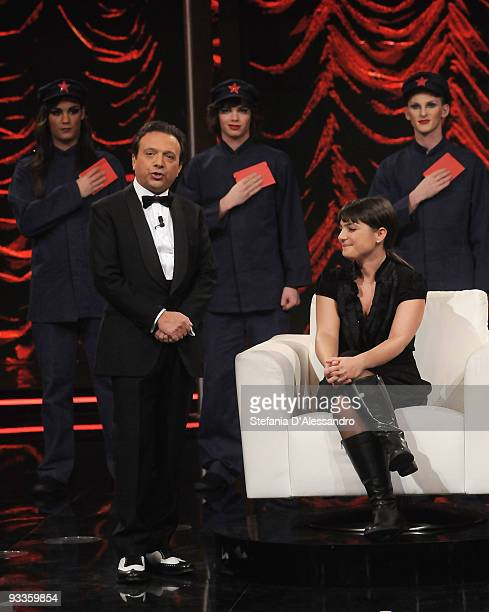 Presenter Piero Chiambretti and PD Italian Party European Deputy Debora Serracchiani attends 'Chiambretti Night' Italian Tv Show on November 24 2009...