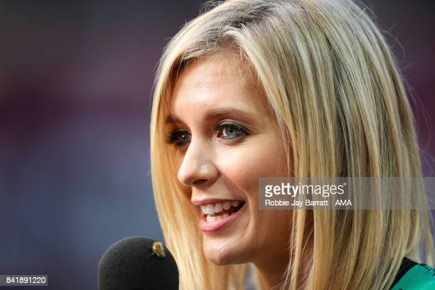 Presenter Rachel Riley during the match between Manchester United Legends and FC Barcelona Legends at Old Trafford on September 2 2017 in Manchester...