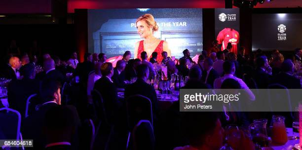 Presenter Rachel Riley speaks at the club's annual Manchester United Player of the Year awards at Old Trafford on May 18 2017 in Manchester England