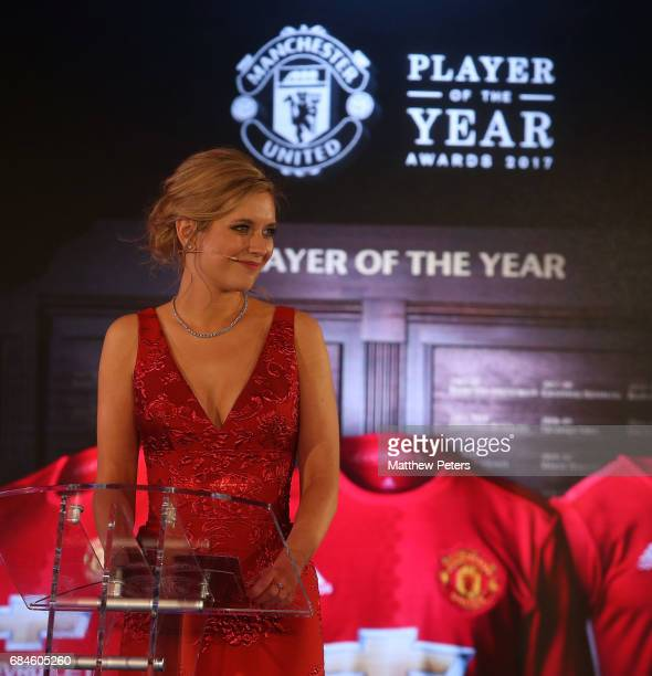 Presenter Rachel Riley speaks at the Manchester United annual Player of the Year awards at Old Trafford on May 18 2017 in Manchester England