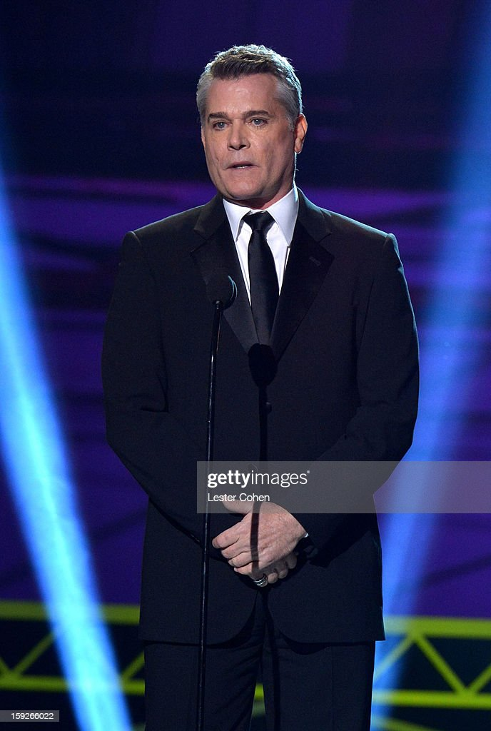 Presenter <a gi-track='captionPersonalityLinkClicked' href=/galleries/search?phrase=Ray+Liotta&family=editorial&specificpeople=211136 ng-click='$event.stopPropagation()'>Ray Liotta</a> speaks onstage during the 18th Annual Critics' Choice Movie Awards at The Barker Hanger on January 10, 2013 in Santa Monica, California.