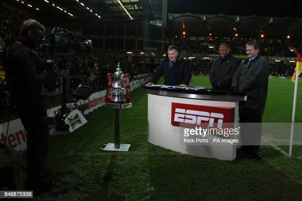 ESPN presenter Ray Stubbs with pundits John Barnes and Gary Mabbutt at halftime