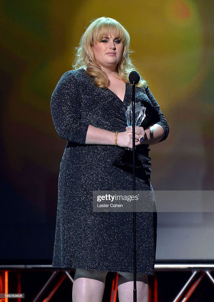 Presenter Rebel Wilson speaks onstage during the 18th Annual Critics' Choice Movie Awards at The Barker Hanger on January 10, 2013 in Santa Monica, California.