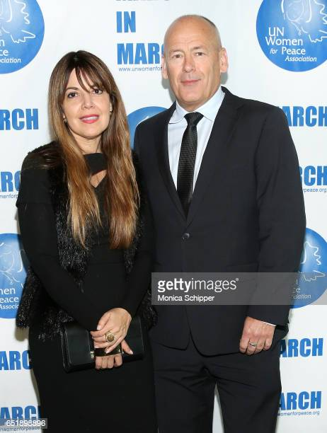 Presenter Rema DuPont and honoree David Batstone attend the 4th Annual UN Women For Peace Association Awards Luncheon at United Nations on March 10...