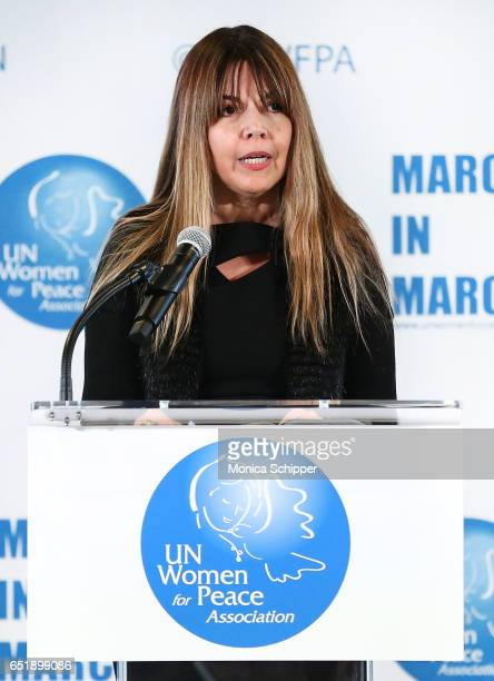 Presenter Rema DuPont speaks on stage at the 4th Annual UN Women For Peace Association Awards Luncheon at United Nations on March 10 2017 in New York...