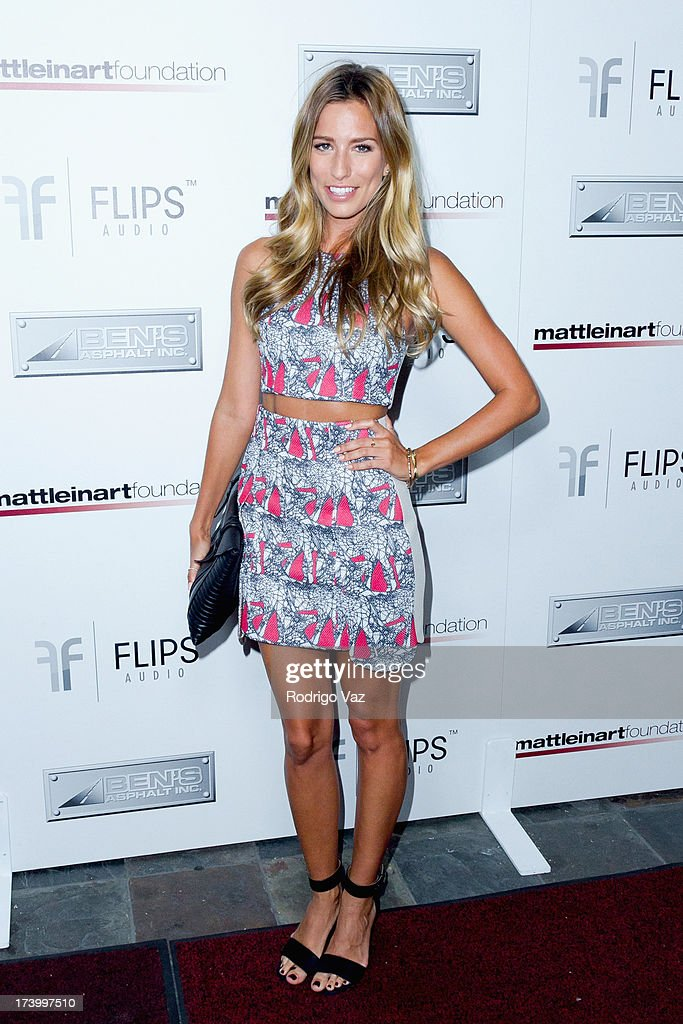 Presenter <a gi-track='captionPersonalityLinkClicked' href=/galleries/search?phrase=Renee+Bargh&family=editorial&specificpeople=4267341 ng-click='$event.stopPropagation()'>Renee Bargh</a> arrives at the Matt Leinart Foundation's 7th Annual 'Celebrity Bowl' at Lucky Strikes on July 18, 2013 in Hollywood, California.