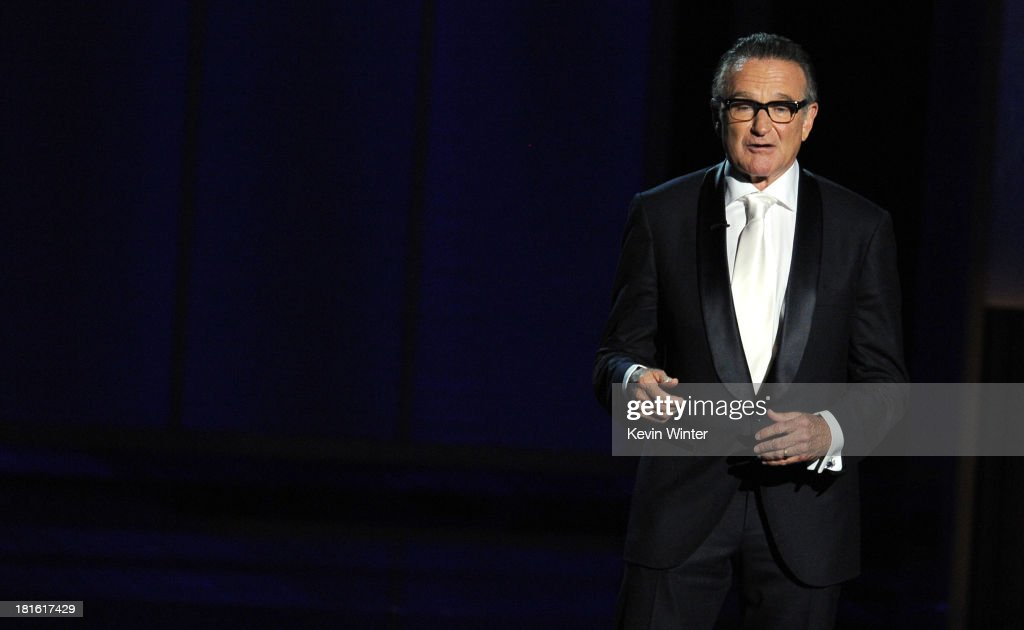 Presenter <a gi-track='captionPersonalityLinkClicked' href=/galleries/search?phrase=Robin+Williams&family=editorial&specificpeople=174322 ng-click='$event.stopPropagation()'>Robin Williams</a> speaks onstage during the 65th Annual Primetime Emmy Awards held at Nokia Theatre L.A. Live on September 22, 2013 in Los Angeles, California.