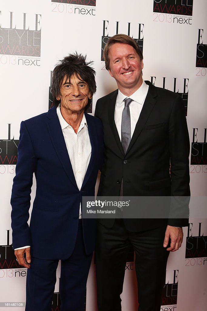 Presenter Ronnie Wood and director <a gi-track='captionPersonalityLinkClicked' href=/galleries/search?phrase=Tom+Hooper&family=editorial&specificpeople=681836 ng-click='$event.stopPropagation()'>Tom Hooper</a> pose in the press room at the Elle Style Awards at The Savoy Hotel on February 11, 2013 in London, England.