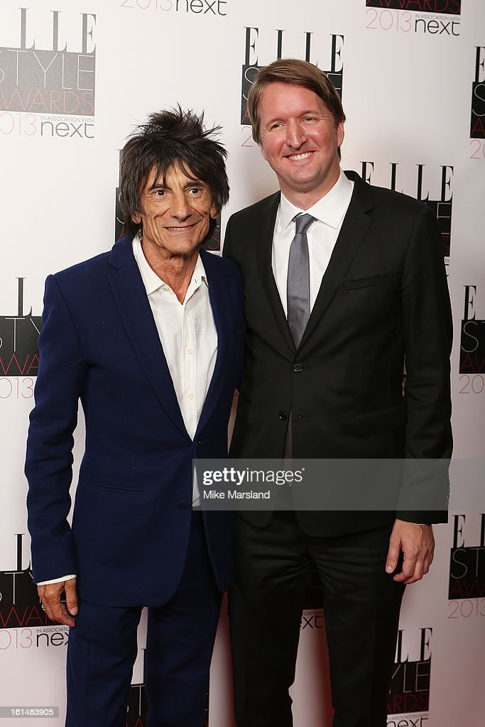 Presenter Ronnie Wood and director Tom Hooper pose in the press room at the Elle Style Awards at The Savoy Hotel on February 11, 2013 in London, England.