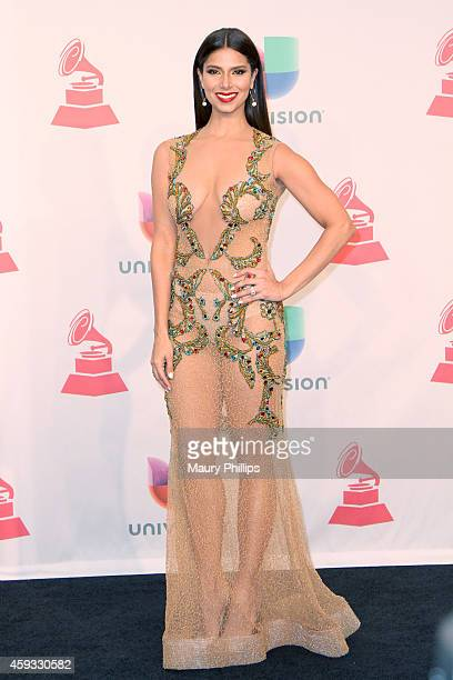 Presenter Roselyn Sanchez poses in the press room during the 15th annual Latin GRAMMY Awards at the MGM Grand Garden Arena on November 20 2014 in Las...