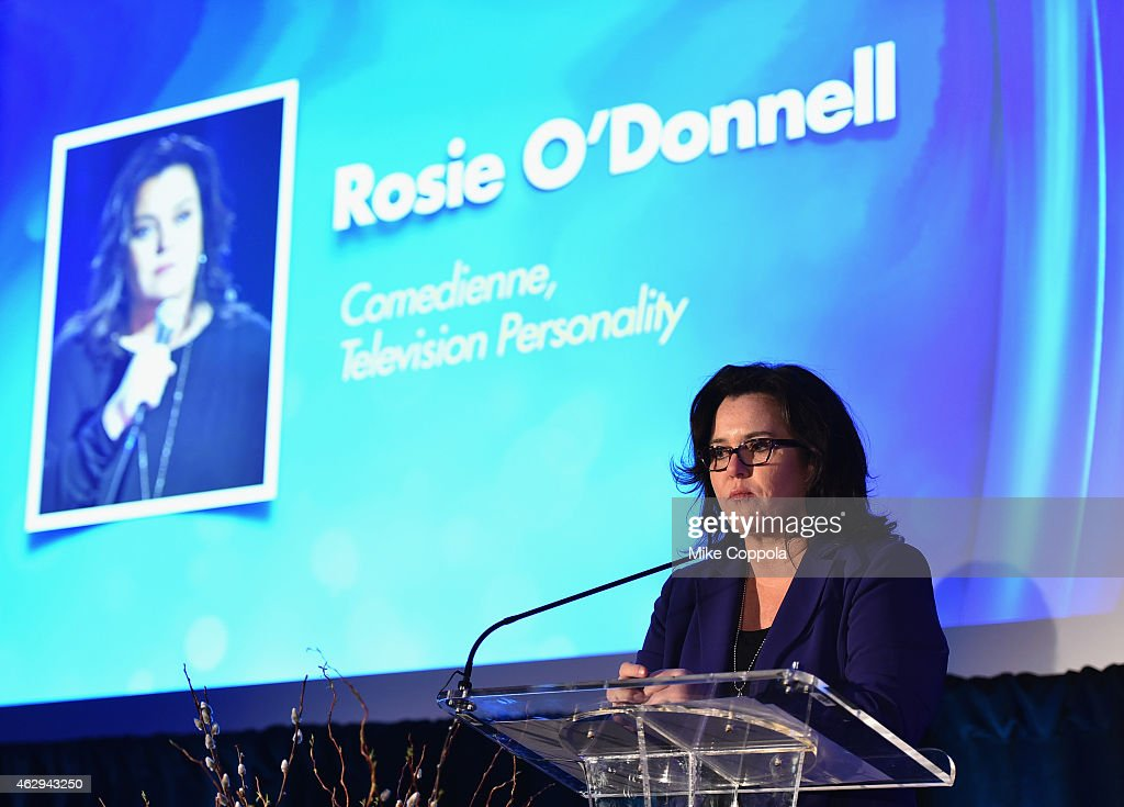 Presenter Rosie O'Donnell speaks on stage at the 5th Annual Athena Film Festival Ceremony Reception at Barnard College on February 7 2015 in New York...