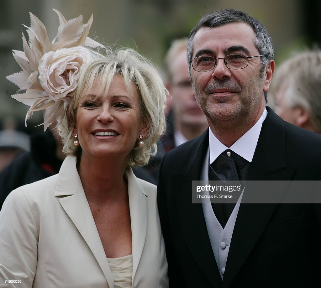 TV presenter Sabine Christiansen (R) and her husband Norbert Medus attend the wedding ceremony of Prince Alexander zu Schaumburg Lippe and Nadja Anna Zsoeks at the city church on June 30, 2007 in Bueckeburg, Germany.