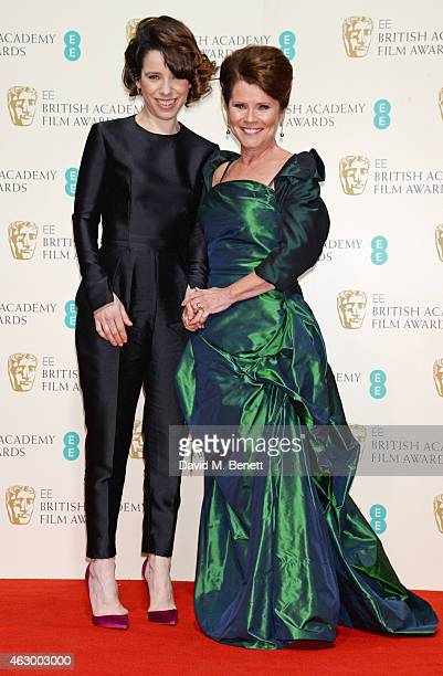 Presenter Sally Hawkins and Imelda Staunton pose in the winners room at the EE British Academy Film Awards at The Royal Opera House on February 8...