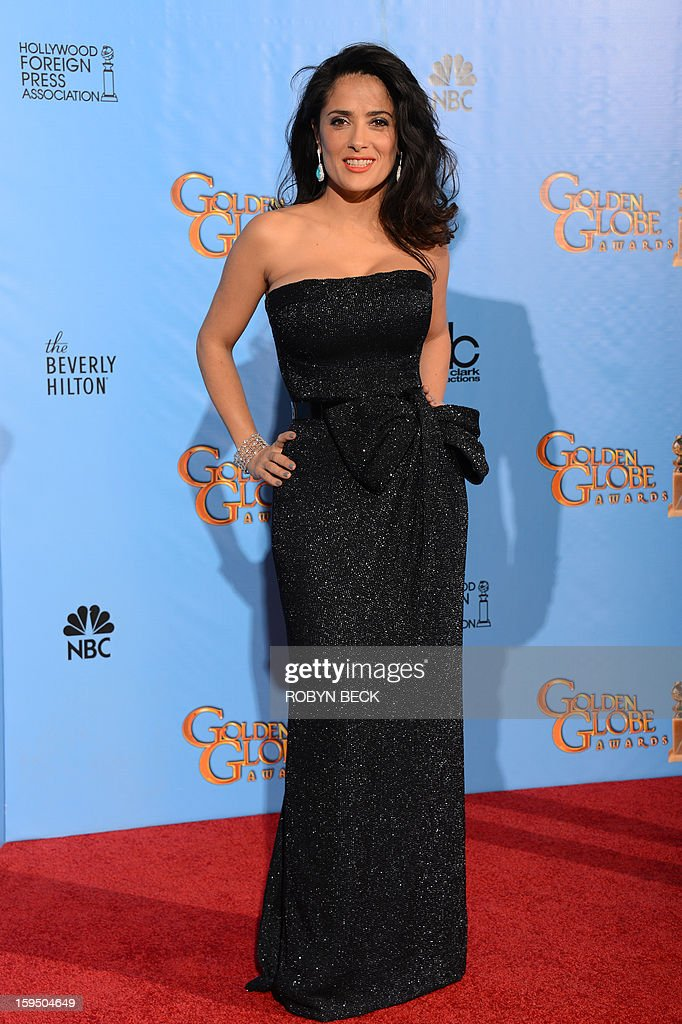 Presenter Salma Hayek poses in the press room during the 70th Annual Golden Globe Awards held at The Beverly Hilton Hotel on January 13, 2013 in Beverly Hills, California. AFP PHOTO/Robyn BECK