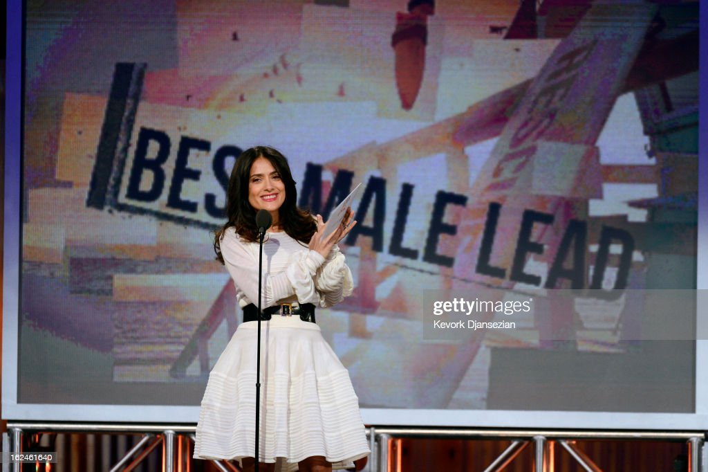 Presenter <a gi-track='captionPersonalityLinkClicked' href=/galleries/search?phrase=Salma+Hayek&family=editorial&specificpeople=201844 ng-click='$event.stopPropagation()'>Salma Hayek</a> speaks onstage during the 2013 Film Independent Spirit Awards at Santa Monica Beach on February 23, 2013 in Santa Monica, California.