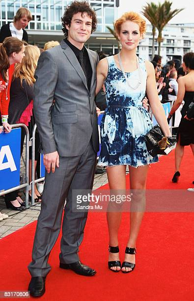 TV presenter Samantha Hayes and her partner arrive at the Vodafone New Zealand Music Awards 2008 at Vector Arena on October 8 2008 in Auckland New...
