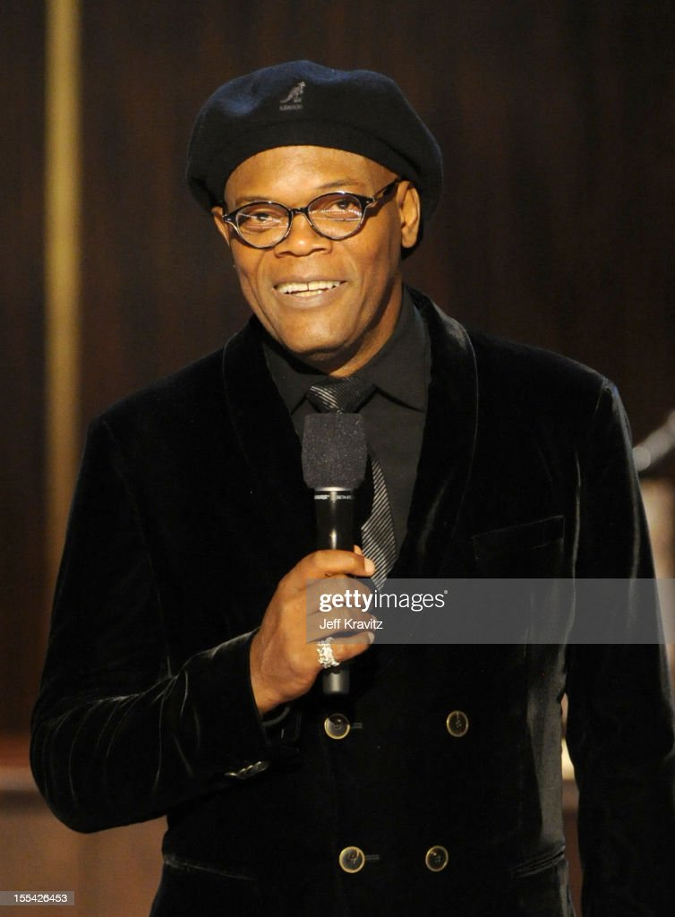 Presenter <a gi-track='captionPersonalityLinkClicked' href=/galleries/search?phrase=Samuel+L.+Jackson&family=editorial&specificpeople=167234 ng-click='$event.stopPropagation()'>Samuel L. Jackson</a> speaks onstage at Spike TV's 'Eddie Murphy: One Night Only' at the Saban Theatre on November 3, 2012 in Beverly Hills, California.