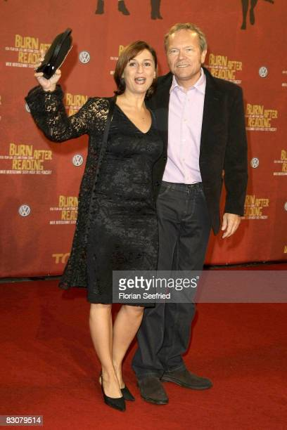 TV presenter Sandra Maischberger and husband Jan Kerhart attend the German premiere of 'Burn After Reading' at the CineStar on October 1 2008 in...