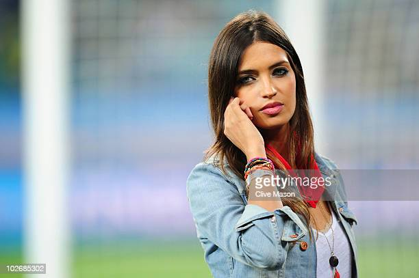 Presenter Sara Carbonero girlfriend of Iker Casillas of Spain ahead of the 2010 FIFA World Cup South Africa Semi Final match between Germany and...
