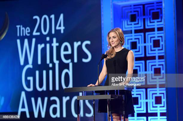 Presenter Sasha Alexander speaks onstage at the 2014 Writers Guild Awards LA Ceremony at JW Marriott at LA Live on February 1 2014 in Los Angeles...