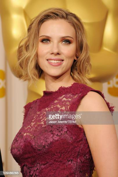 Presenter Scarlett Johansson poses in the press room during the 83rd Annual Academy Awards held at the Kodak Theatre on February 27 2011 in Hollywood...