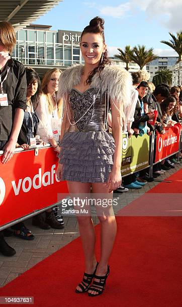Presenter Shannon Ryan arrives for the 2010 Vodafone Music Awards at Vector Arena on October 7 2010 in Auckland New Zealand