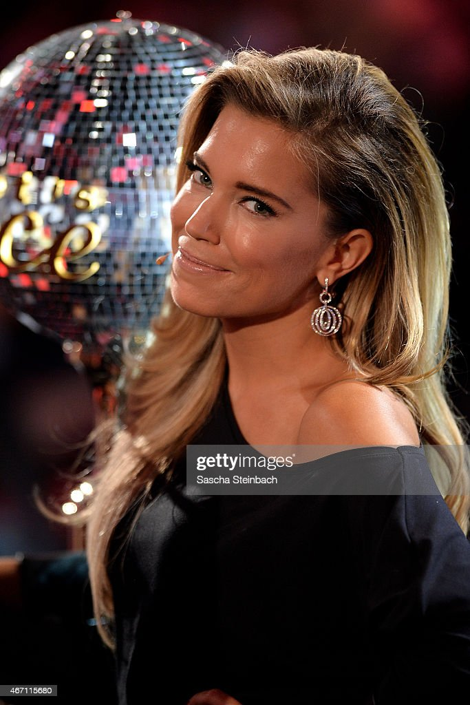 Presenter Silvie Meis looks on during the 2nd show of the television competition 'Let's Dance' on March 20, 2015 in Cologne, Germany.