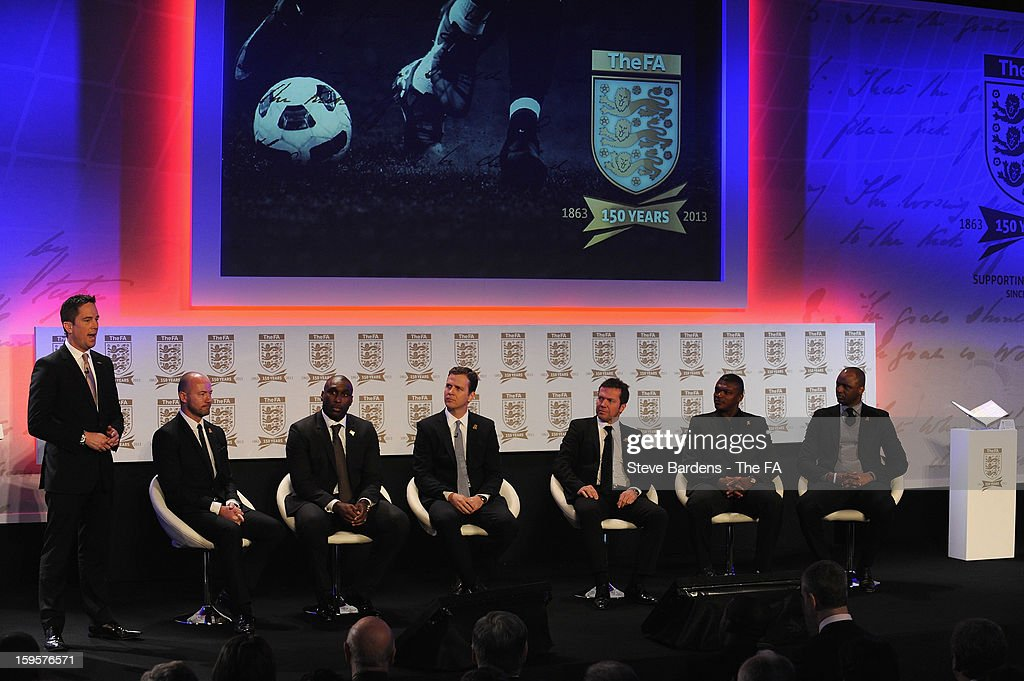 Presenter Simon Thomas appears on stage with (L-R) Alan Shearer, Sol Campbell, Oliver Bierhoff of Germany, Lothar Matthaus of Germany, Marcel Desailly of France and Patrick Vieira of France during the official launch to mark the FA's 150th Anniversary Year at the Grand Connaught Rooms on January 16, 2013 in London, England.