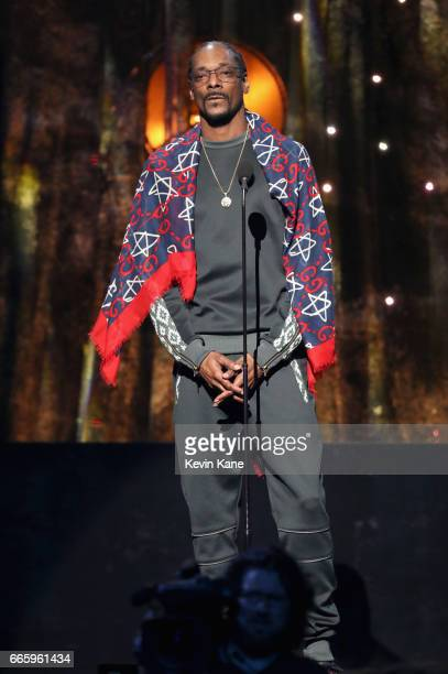 Presenter Snoop Dogg speaks onstage at the 32nd Annual Rock Roll Hall Of Fame Induction Ceremony at Barclays Center on April 7 2017 in New York City...