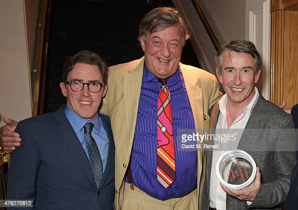Presenter Stephen Fry poses with Rob Brydon and Steve Coogan winners of the Comedy award for 'The Trip To Italy' at the South Bank Sky Arts awards at...