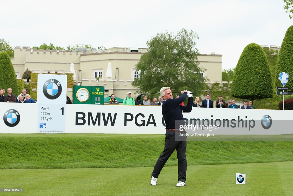 Presenter Steve Rider tees off on the 1st hole during the Pro-Am prior to the BMW PGA Championship at Wentworth on May 25, 2016 in Virginia Water, England.