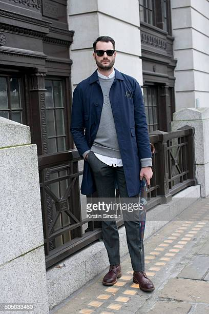 Presenter Stevie Kelly wears a Roudel coat Samsoe Samsoe jumper Mr Henry trousers Skotch and Soda umbrella Grenson shoes and Ray Ban sunglasses on...