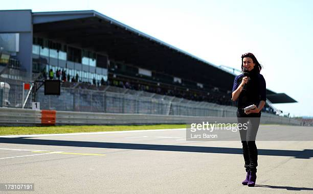 BBC presenter Suzie Perry is seen before the German Grand Prix at the Nuerburgring on July 7 2013 in Nuerburg Germany