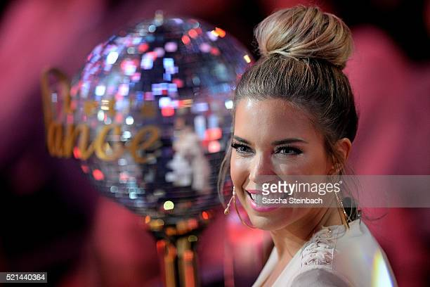 Presenter Sylvie Meis looks on during the 5th show of the television competition 'Let's Dance' at Coloneum on April 15 2016 in Cologne Germany