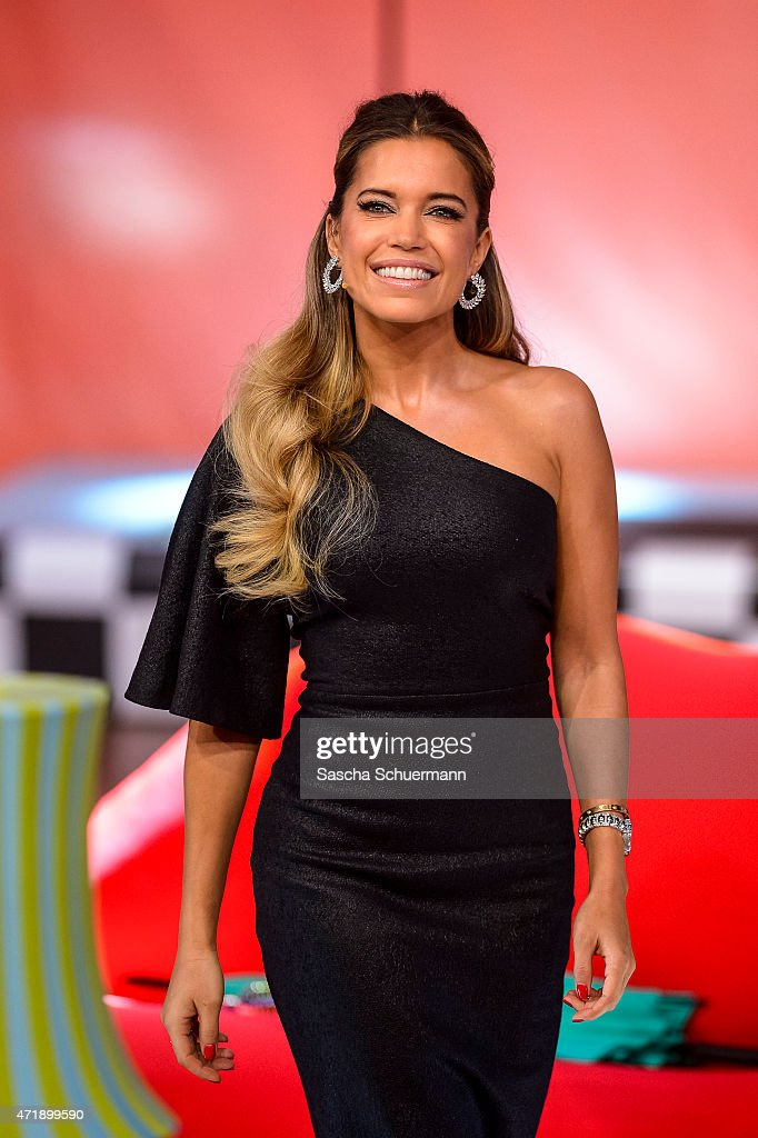 Presenter <a gi-track='captionPersonalityLinkClicked' href=/galleries/search?phrase=Sylvie+Meis&family=editorial&specificpeople=538310 ng-click='$event.stopPropagation()'>Sylvie Meis</a> react during the 7th show of the television competition 'Let's Dance' on May 1, 2015 in Cologne, Germany.
