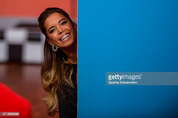 Presenter Sylvie Meis react during the 7th show of the television competition 'Let's Dance' on May 1 2015 in Cologne Germany