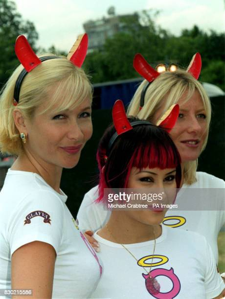 TV presenter Tania Bryer Republica lead singer Saffron and TV's Gaby Roslin at London's Hyde Park to promote Wicked Women a concert due to take place...