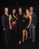TV Presenter Tess Daly visits with cast members Kevin Clifton Karen Hauer Kristina Rihanoff and Robin Windsor of Burn The Floor at the Shaftsbury...