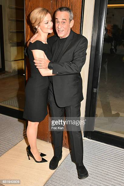 TV presenter Thierry Ardisson and his wife TV presenter Audrey CrespoMara attend the Philippe Caloni 2016 Award Ceremony for the Best Interviewer...