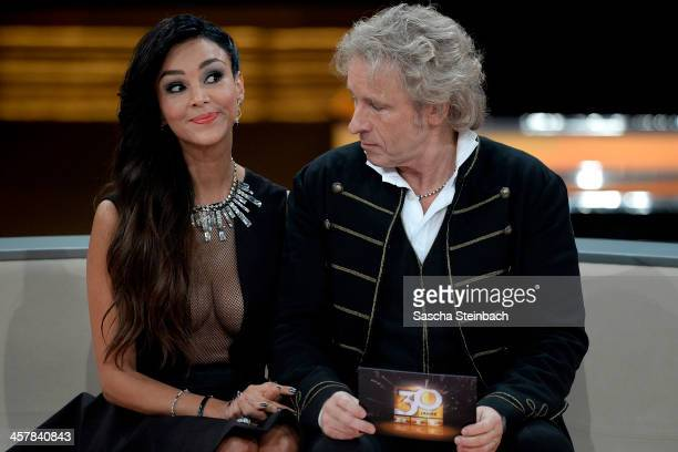 Presenter Thomas Gottschalk looks to Verona Poth's cleavage during the taping of the anniversary show '30 Jahre RTL Die grosse Jubilaeumsshow mit...