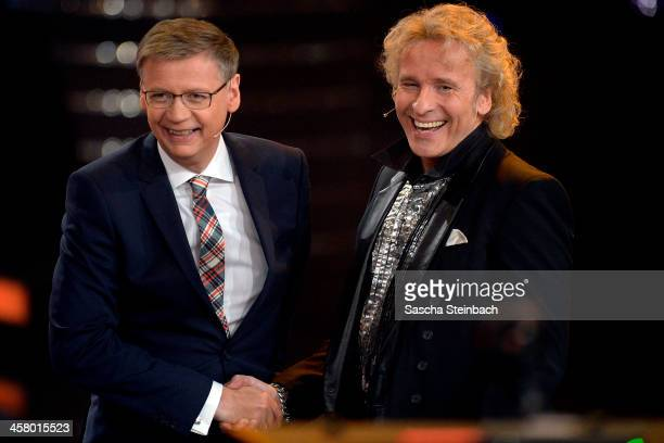 Presenter Thomas Gottschalk welcomes Guenther Jauch during the taping of the anniversary show '30 Jahre RTL Die grosse Jubilaeumsshow mit Thomas...