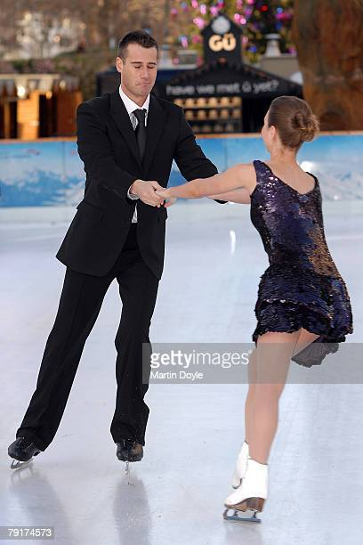 V presenter Tim Vincent and an unidentified guest attend the 'Dancing on Ice' Press launch at the National History Museum on January 7 2008 in London...