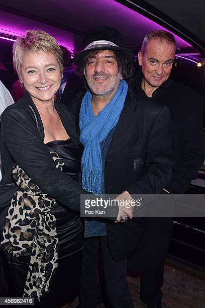 TV presenter Valerie Payet Singer Rachid Taha and Valerie Payet's companion attend the James Arch Party At The River's King boat on october 9 2014 in...