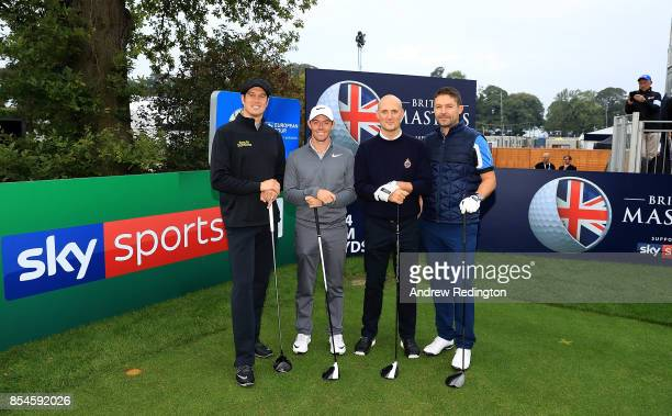 Presenter Vernon Kay Rory McIlroy of Northern Ireland CEO of MC Saatchi Steve Martin and Sky Sports Managing Director Barney Francis pose for a...